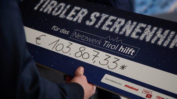 Rekord-Spendensumme bei Tiroler Sternenhimmel: Über 100.000 € für Tiroler in Not
