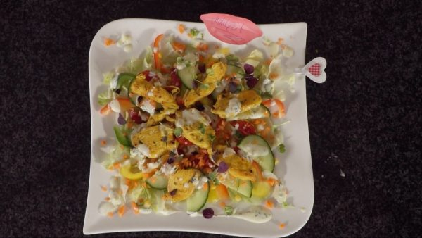 Bunter Salat mit Putenstreifen